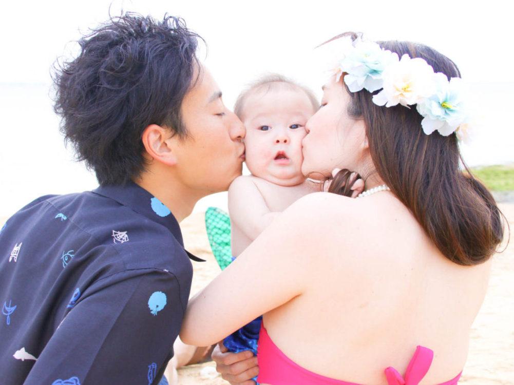 赤ちゃんマーメイドと家族撮影
